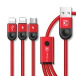 Cafele 3 in 1 Braided Charging Data Sync Cable iPhone + Android + Type-C