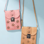 New Women Vintage PU Leather Flower Phone Bag