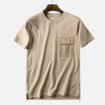 New Mens Cotton Chest Pocket  Loose T-shirts